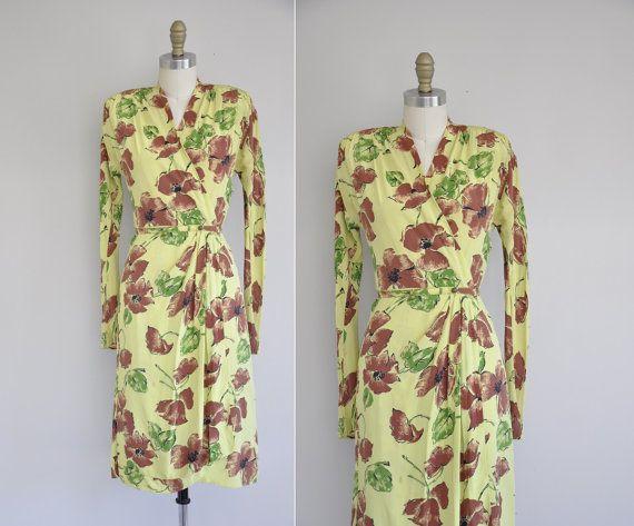 vintage 40s rayon print dress / 1940s rare chartreuse green dress / 40s print swing dress