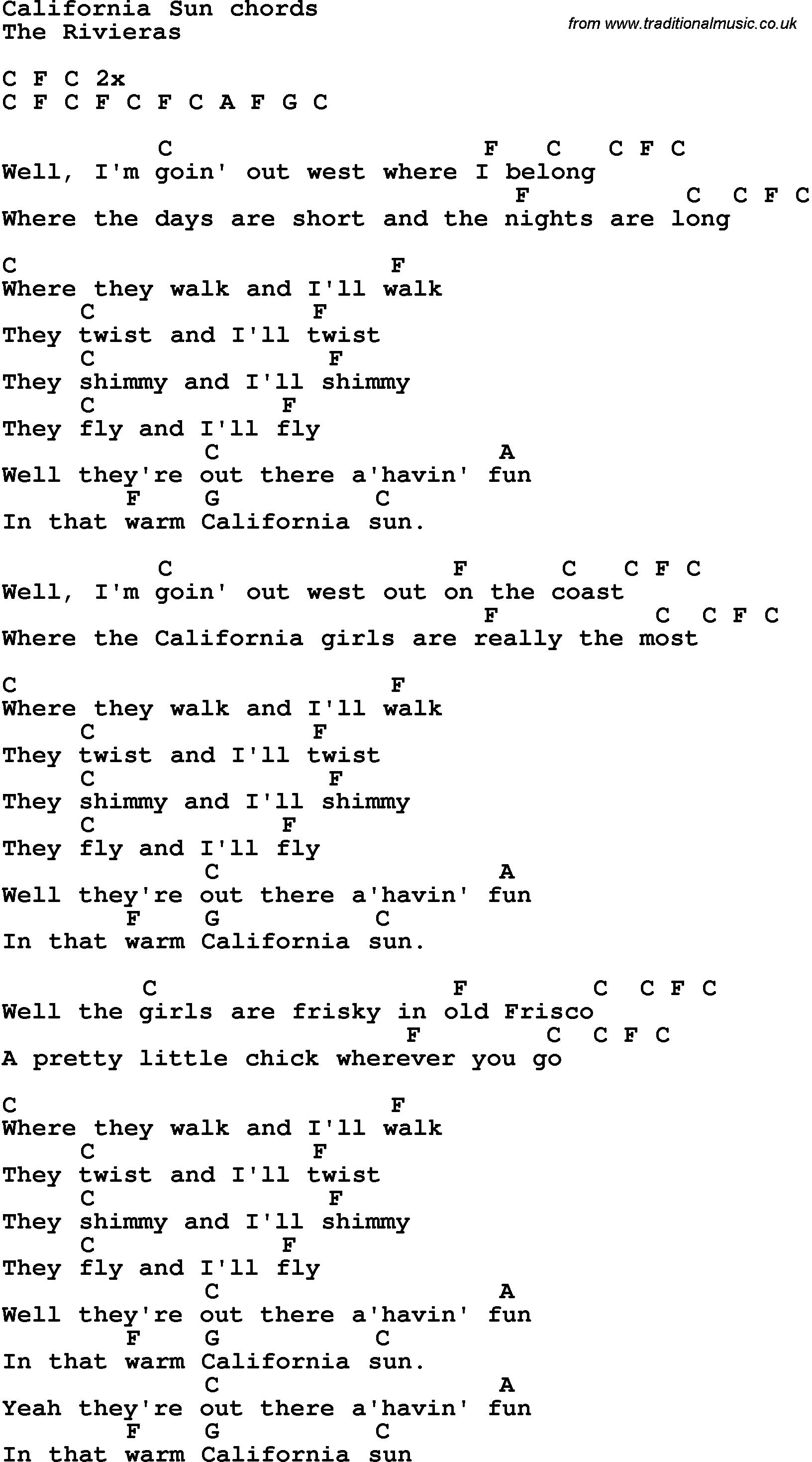 Song lyrics with guitar chords for california sun musician song lyrics with guitar chords for california sun hexwebz Choice Image