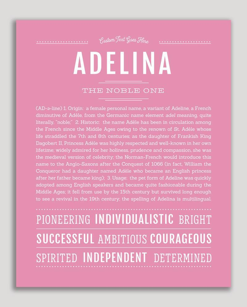 Adelina Name Art Print In 2020 Personalized Art Print Classic Names Names With Meaning