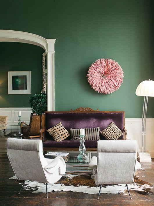 modern vintage living room aubergine purple  sage green