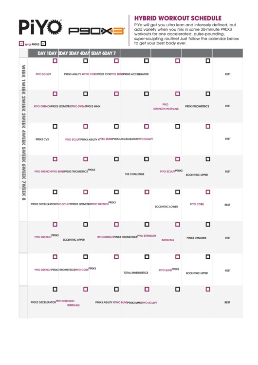 Need a Piyo P90x3 Hybrid Workout Schedule Template? Here\'s a free ...