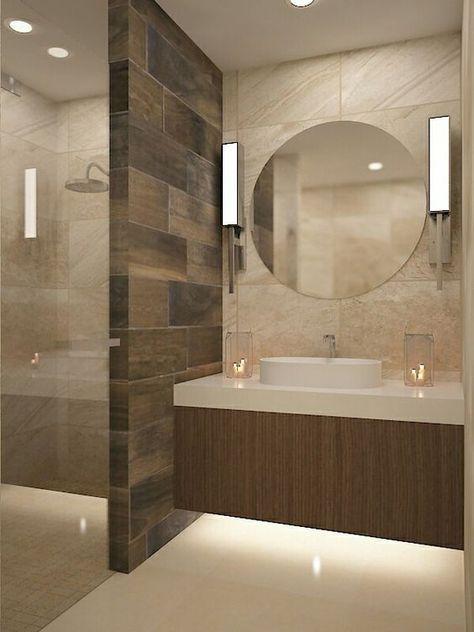 Lavabo espejo redondo muro duela Remodelacion Departamento - modelos de baos
