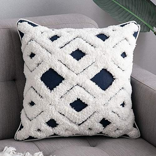 MIULEE Decorative Throw Pillow Cover Tribal Boho Woven Tufted Lumbar Pillowcase Soft Cushion Case for Sofa Couch Bedroom…