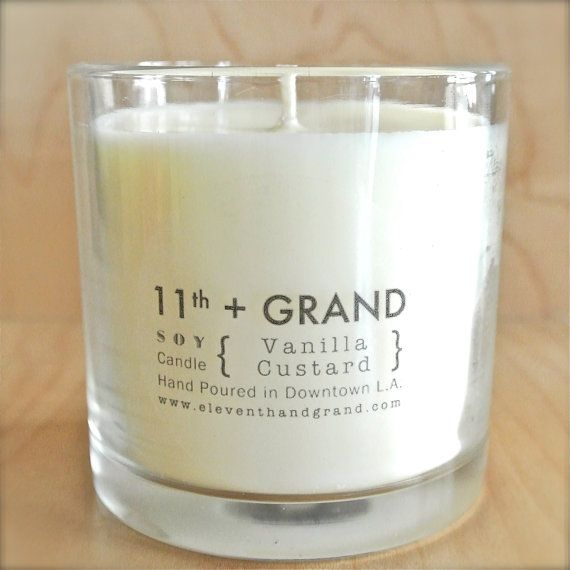 Vanilla Custard Soy Candle - Attention to all our #Vanilla lovers - this is the #candle for you! Let this rich vanilla scented candle fill your home for the #holidays.  #11th+Grand #EleventhandGrand #HolidayGifts #SoyCandle #MadeinLA