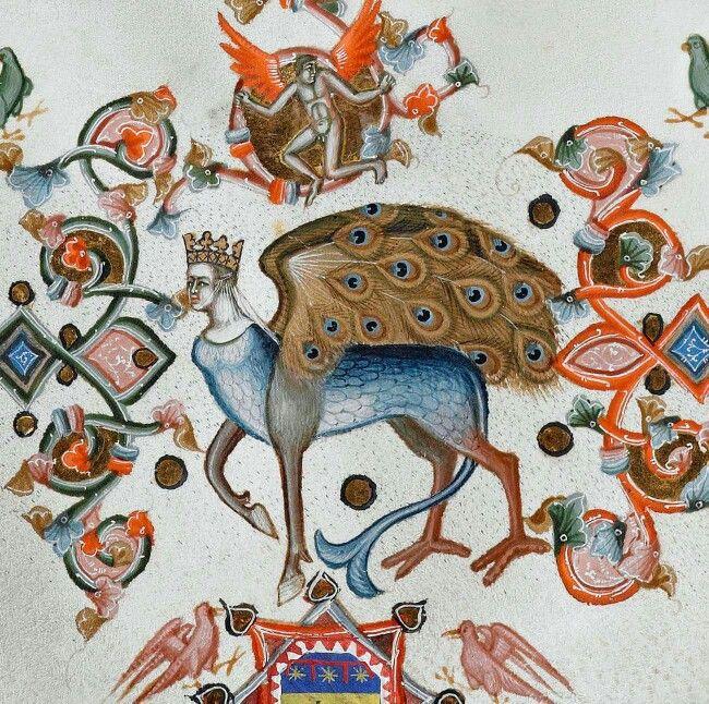 peacock wings  Anjou Bible, Naples ca. 1340 (Universiteitsbibliotheek Leuven, Cod. 1, fol. 262r)