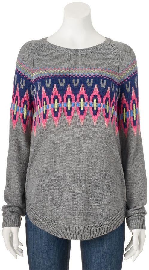 Juniors' SO® Shirttail Intarsia Sweater