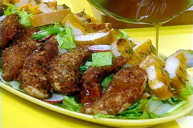 Pecan crusted chicken tenders and salad with tangy maple dressing get pecan crusted chicken tenders and salad with tangy maple dressing recipe from food network forumfinder Images