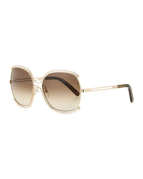 6fb5148efbc23 CHLOÉ Isidora Metal Aviator Sunglasses