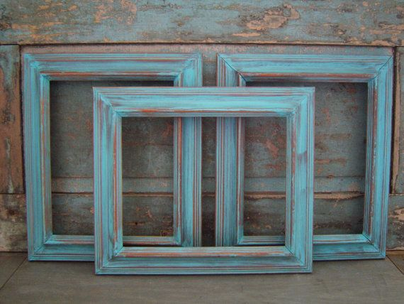 Set of 3 Turquoise Distressed Wooden Picture Frames 8 x 10. $36.00, via Etsy.