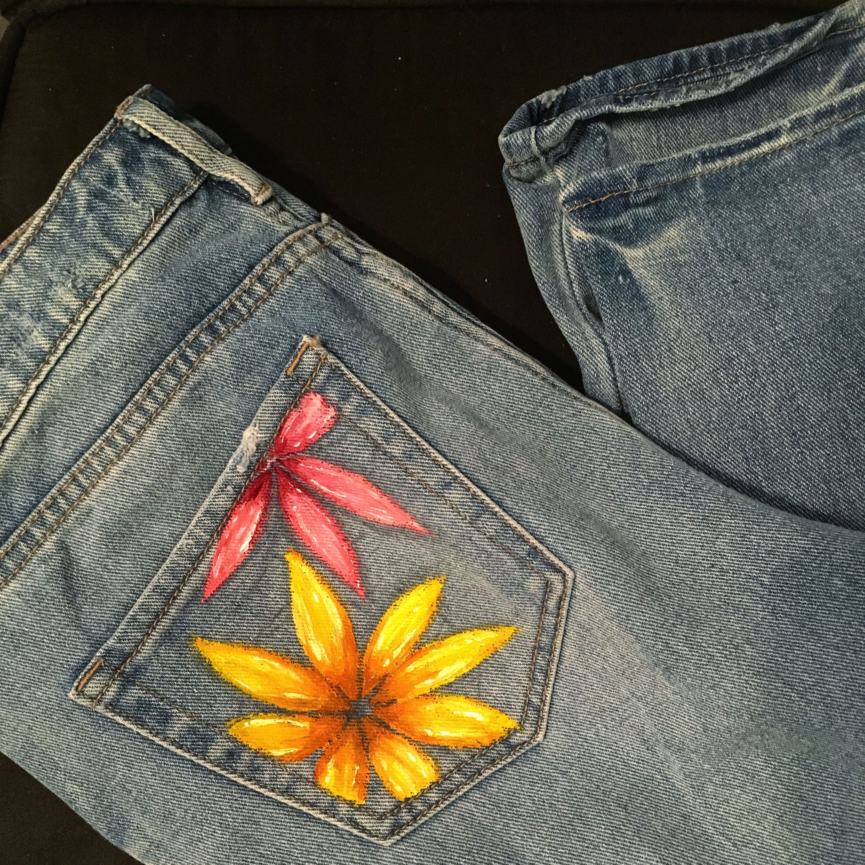 painted denim jeans, liquitex professional acrylics ...