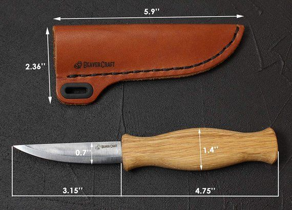 Knife Sheath Set Wood Carving Sloyd Knife for Whittling and Roughing + Leather Sheath BeaverCraft C4 + SH1 #woodcarvingtoo
