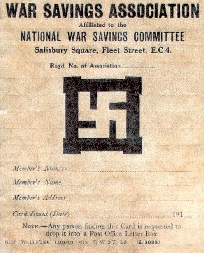 A World War I Savings Card Showing The Swastika Symbol Subsequently