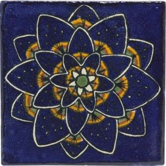 PICKED Blue Peacock Flower Talavera Mexican Tile