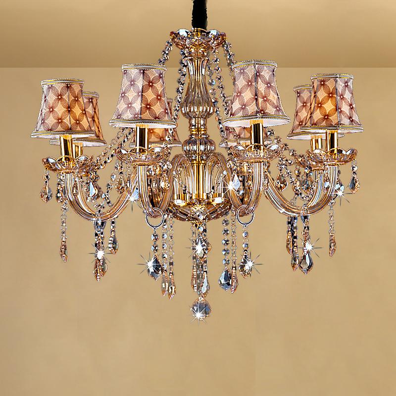 Large European Crystal Chandelier Amber Colour Pendant Light