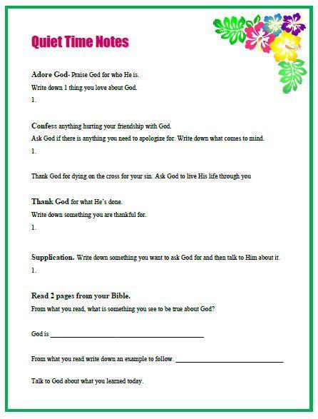 Quiet Time Worksheet For Girls Missionalwomen Raising