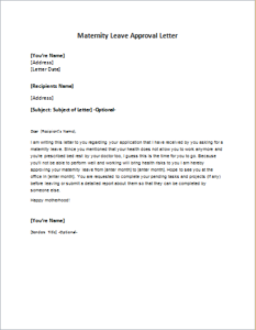 Maternity Leave Approval Letter DOWNLOAD At Writeletter2