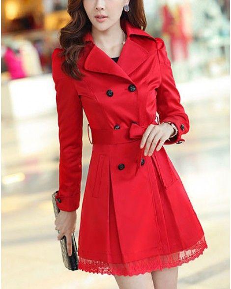 Trench Coat Coats Women, Red Trench Coat Women S Plus Size