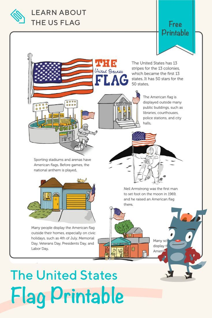 The United States Flag | Worksheet |  Grab this fun printable and teach your child all about the Un