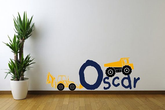 Welcome to Our shop! [ITEM DESCRIPTION] This vinyl Decal would make a great addition to any Nursery or Childs room! Construction vehicles and custom name decal is every little boy or girls perfect touch for their room or space. [SIZES] * Sizes vary - please choose from drop down menu or contact us for a custom size [YOUR SET INCLUDES] * Name Decal * Dump Truck * Backhoe [COLORS] * Color A - Custom Name * Color B - Truck Color * Color C - Tire Color All other colors to remain the same....