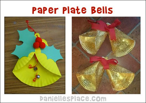 Paper Plate Bell Craft from www.daniellesplace.com | Christmas crafts, Xmas crafts, Christmas ...