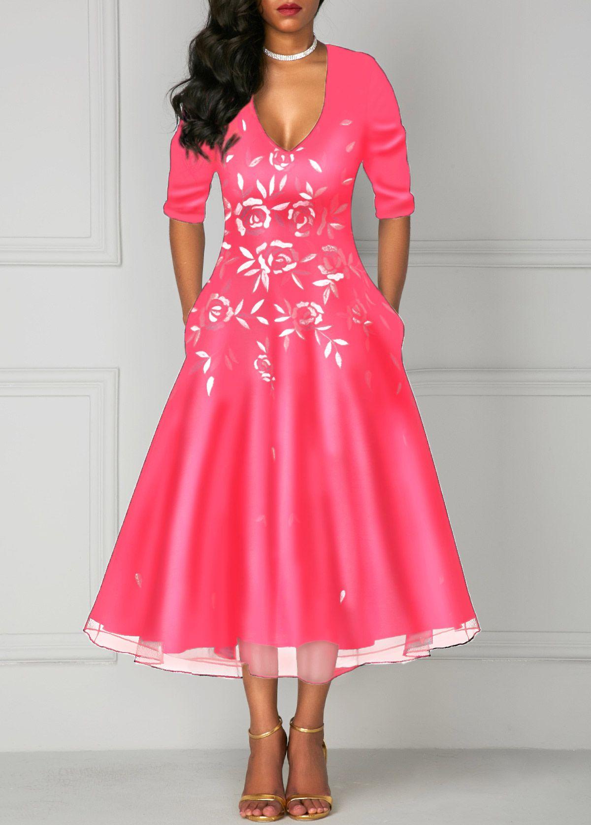 61f936331a5 Flower Print Deep V Neck Pocket Dress