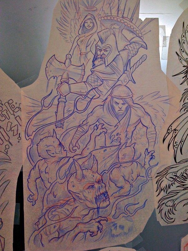 Angels Versus Demons Sleeve By Michaelbrito On Deviantart Tattoos