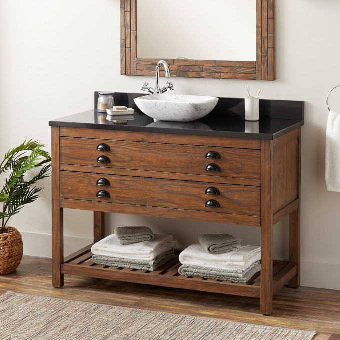 """48"""" Ansel Vessel Console Vanity Farmhouse Brown in 2020"""