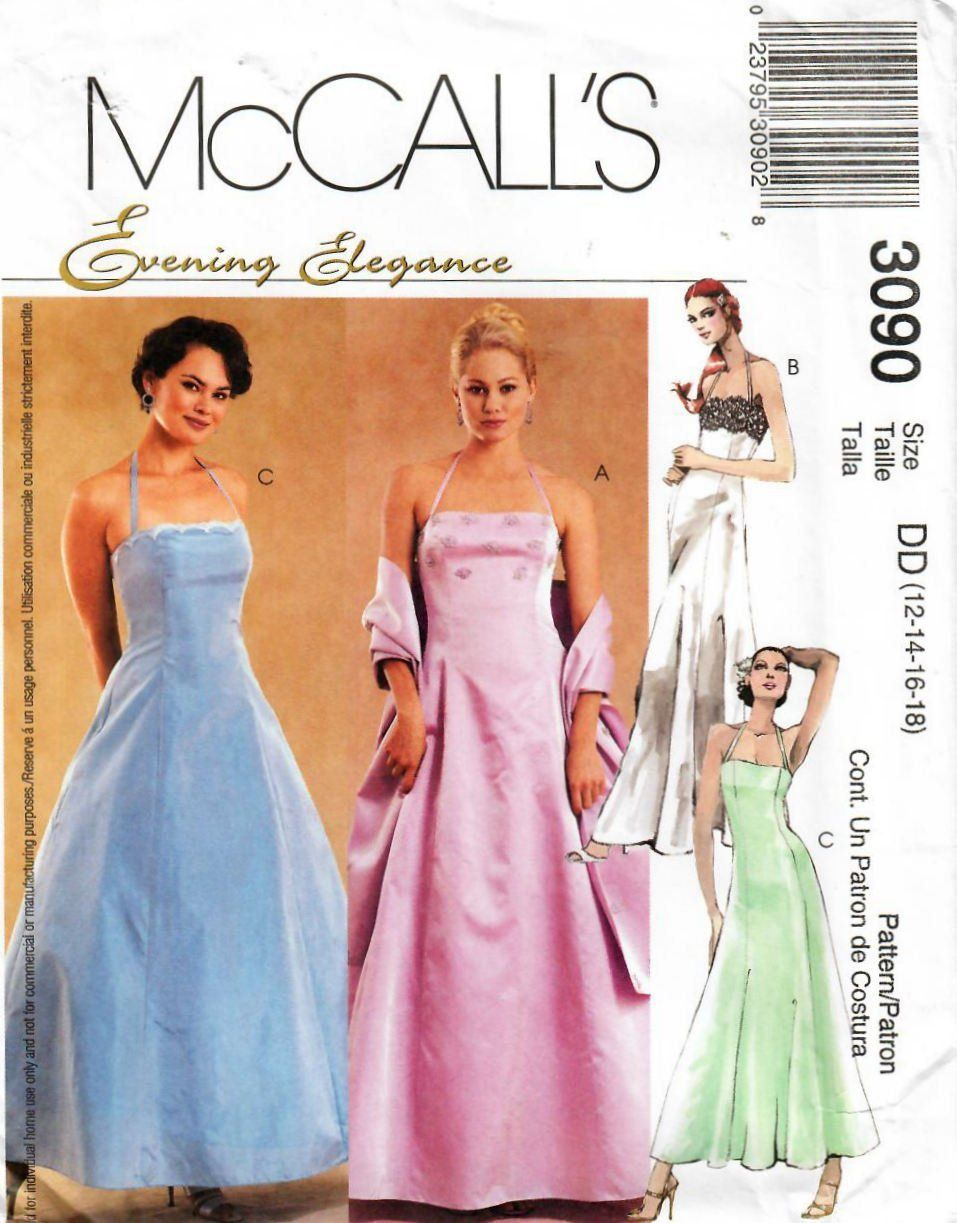 2000s Mccall S 3090 Uncut Sewing Pattern Misses Evening Etsy Formal Dress Patterns Prom Dress Pattern Gown Pattern [ 1223 x 957 Pixel ]