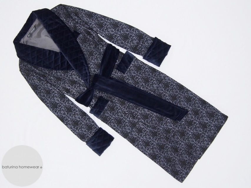 Navy blue luxury men\'s dressing gown. Classic warm and long ...