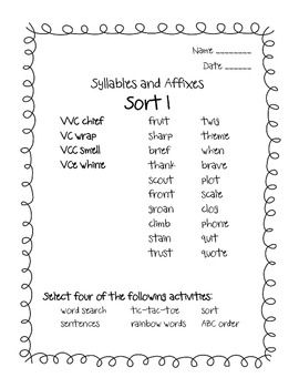 Words Their Way Syllables and Affixes Sorts 1 - 9