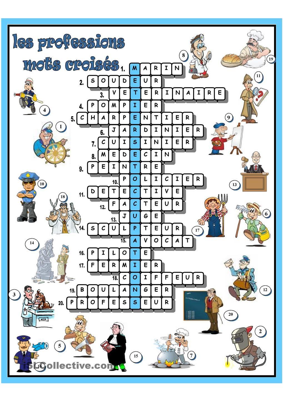 Les Professions Mots Croises Mots Croises Mots Fleches A Imprimer Mots Croises Enfants