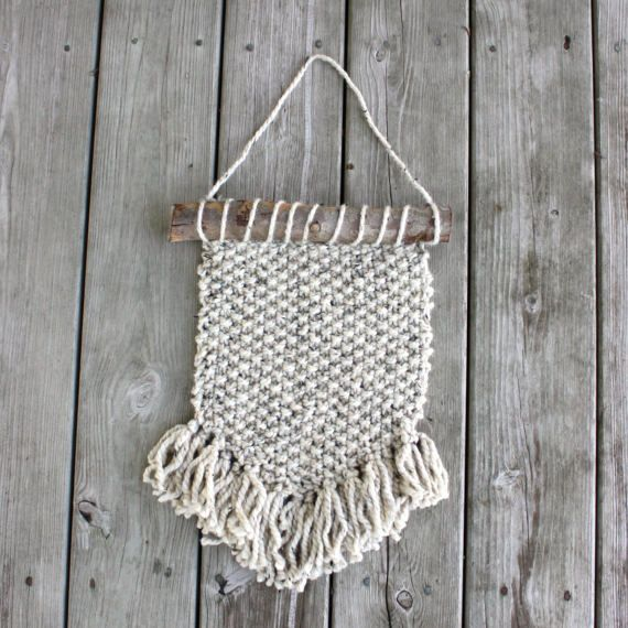 Wall Hanging, Rustic Cozy Home Decor, Knit Decor, Wood and Yarn Wall ...