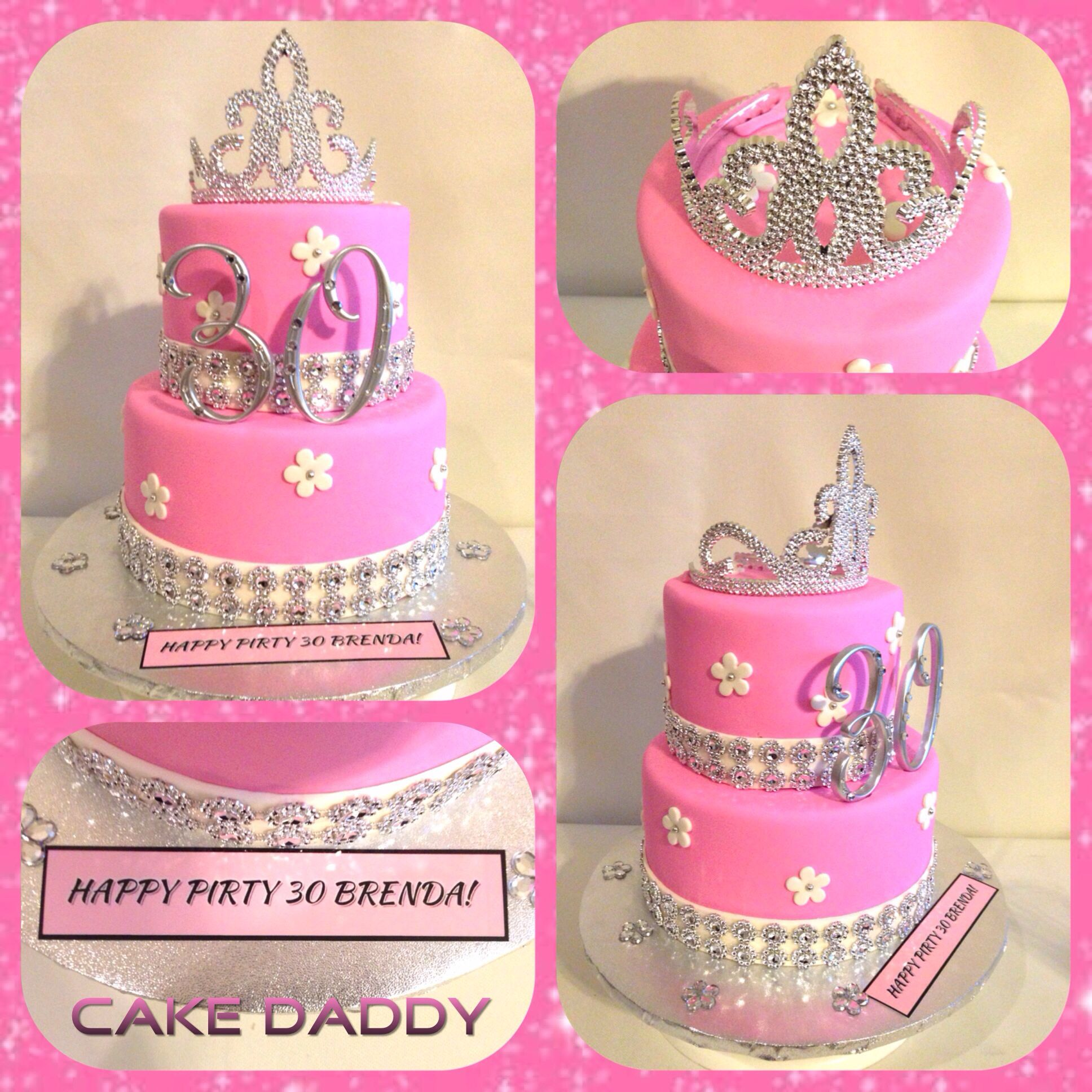 Pink and bling 30th birthday cake