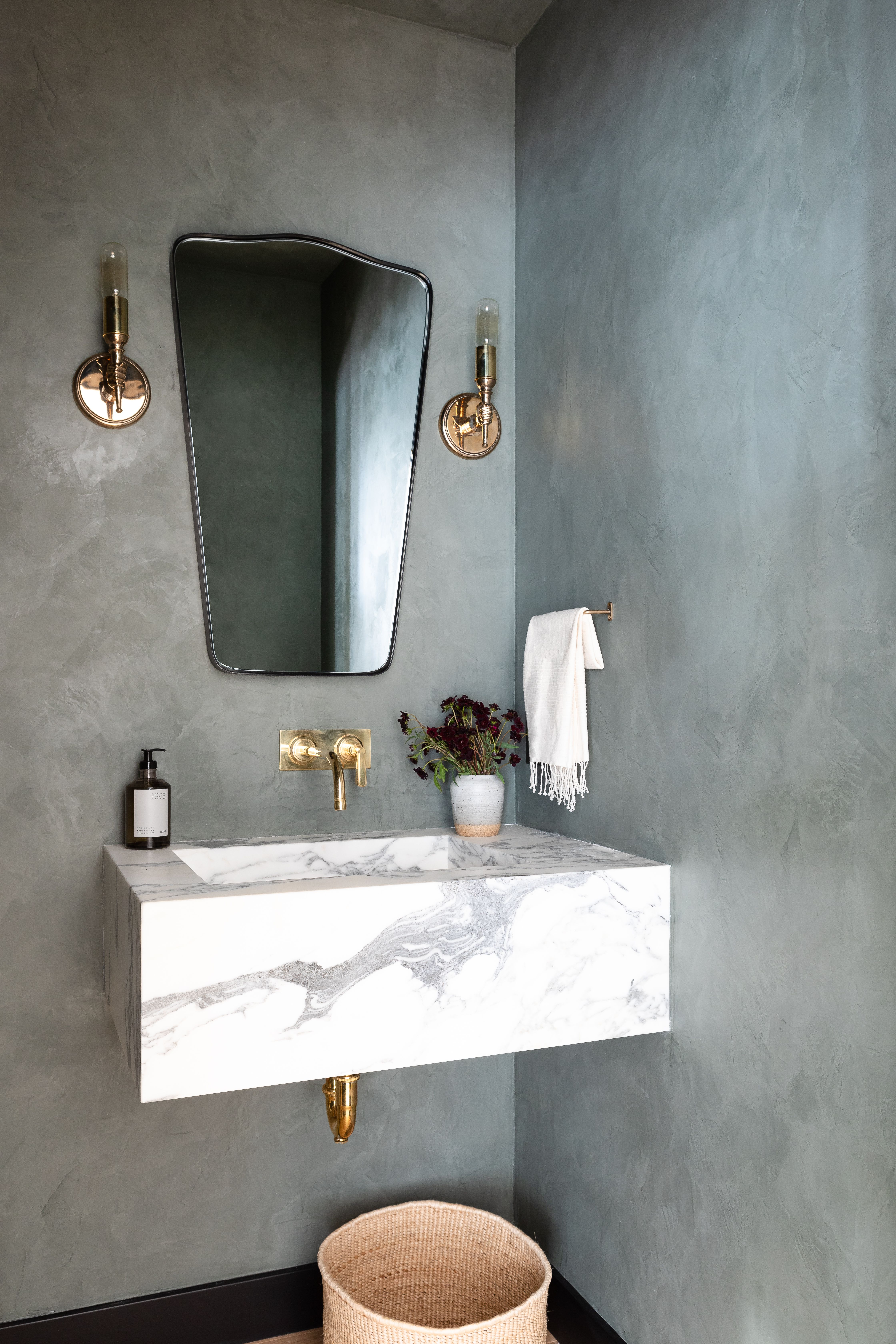 Amber Interiors Client Greater Than Great Plaster Walls Powder Room Vanity Powder Room Sink