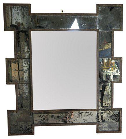 Metal Framed Mirror w/ Antiqued Glass - Brooklyn Brownstone Style ...