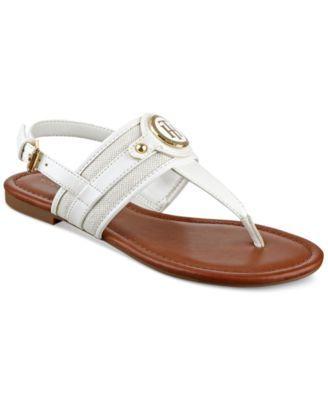 TOMMY HILFIGER Tommy Hilfiger Shane Logo T-Strap Slingback Sandals. #tommyhilfiger #shoes # all women