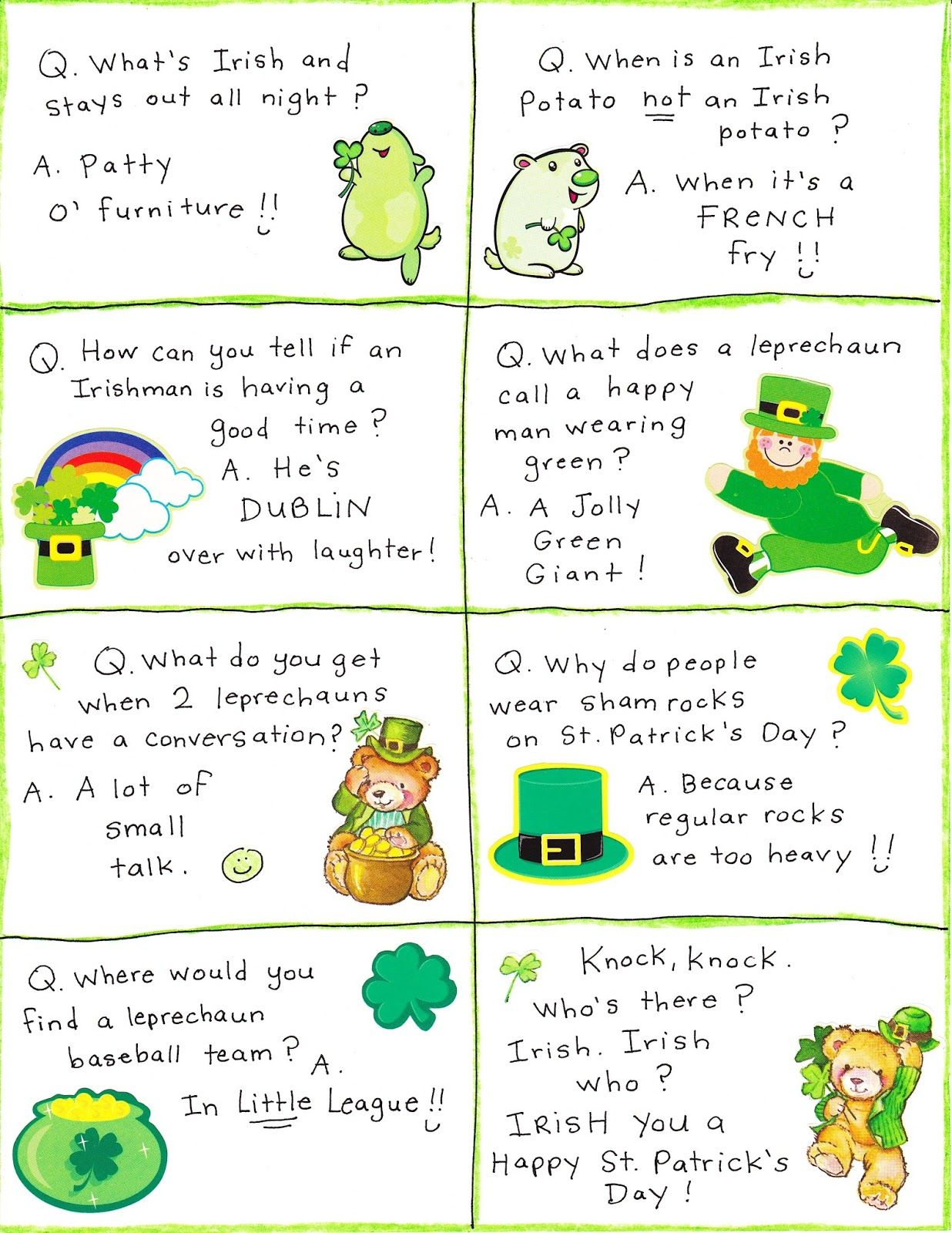 St Patrick S Day Irish Jokes Limericks Riddles One Liners Short Clean Irish Stories