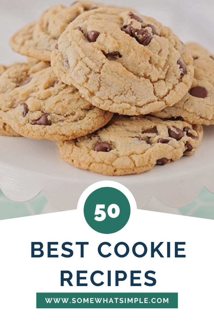 Everyone has a favorite cookie recipe.  However, I bet you'll find your newest addiction on this list. Here are 50 of my favorite cookie recipes from blogs we LOVE! From chocolate chip cookies, to pumpkin cookies, to cake mix cookies and everything in between. There's a recipe you're definitely going to love! #easycookierecipes #bestcookierecipes #homemadecookierecipes #sugarcookies #pumpkincookies #peanutbutterchocolatecookies