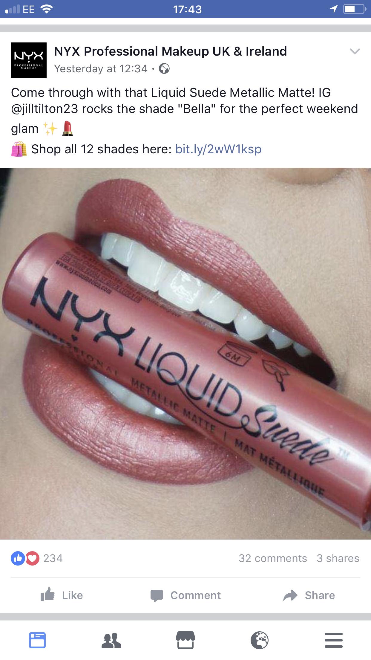 Nyx Liquid Suede Metallic Matte In Bella Milani Lipstick