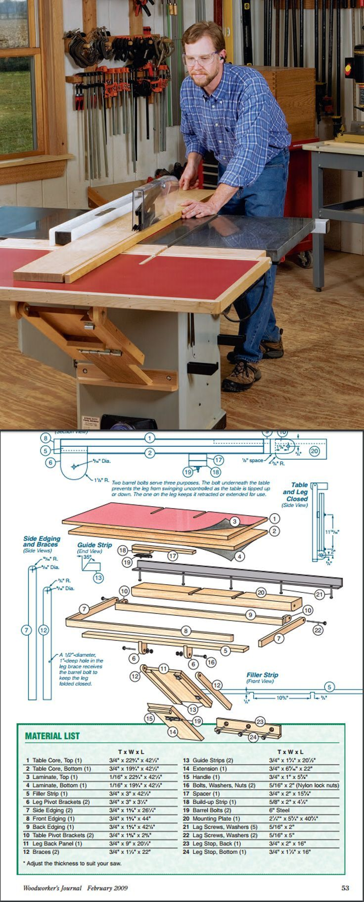 8692a75b88e2171f5116c7cf67808d1e build a folding outfeed table to mount on your table saw stand