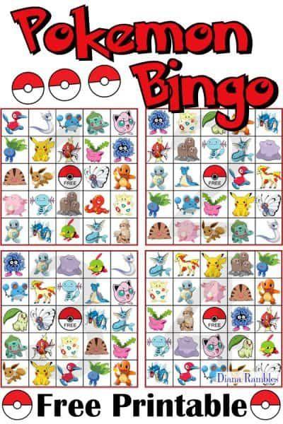 Pokemon Bingo Game Free Game Printable Download