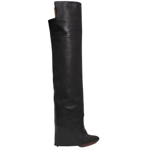 Givenchy Women 125mm Newton Leather Over The Knee Boots ($3,395) ❤ liked on Polyvore featuring shoes, boots, black, black thigh-high boots, black leather boots, over the knee stiletto boots, high heel stilettos and black stilettos