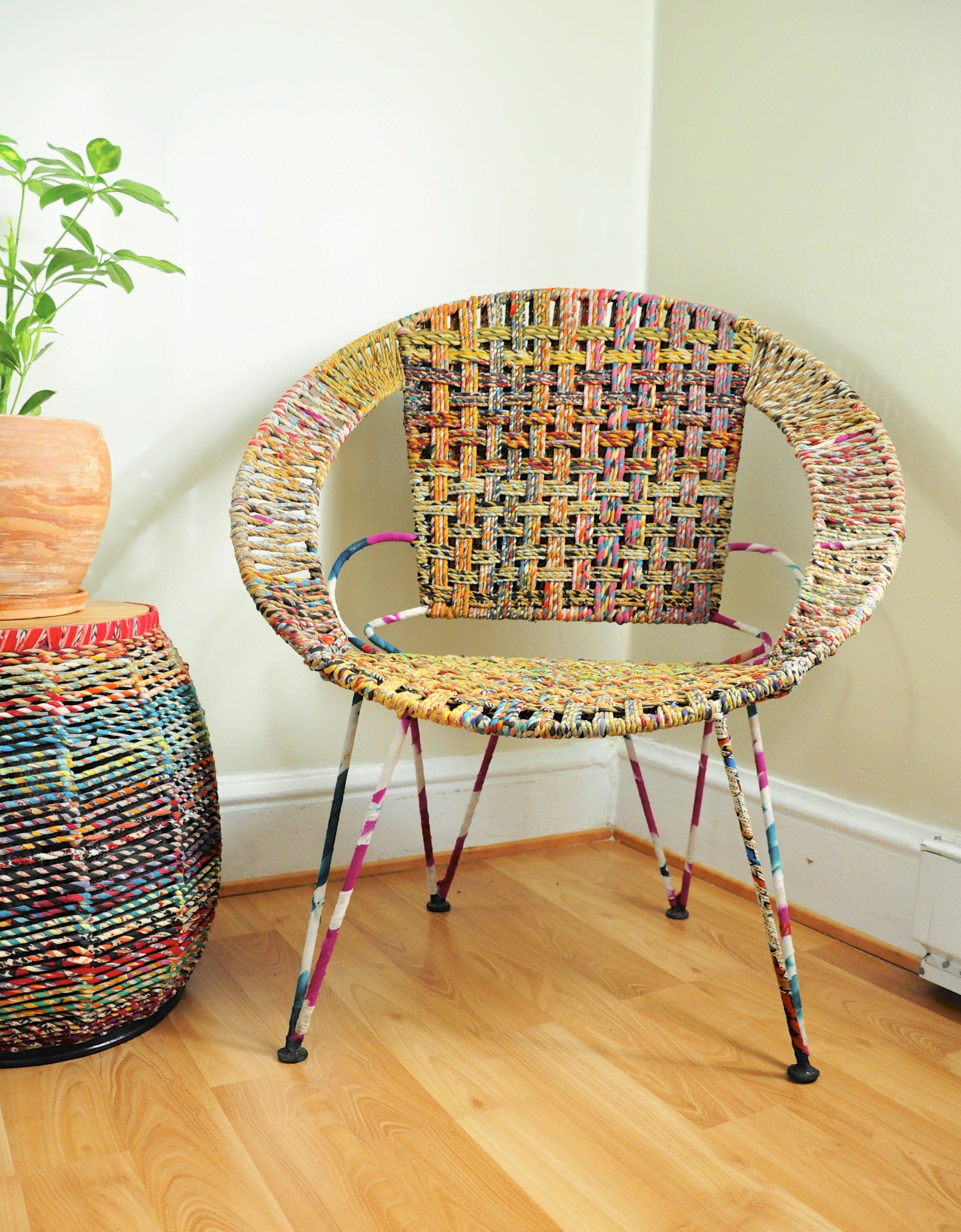 Repurposed Sari Chair ~ Mid Century Modern ~ Handmade ~ Fair Trade Furniture  ~ Home