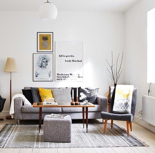 White, grey and yellow | Living Room Decor Ideas | Living ...