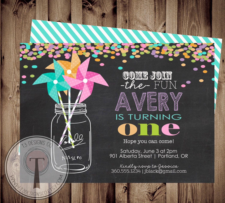 PINWHEEL Rainbow Confetti birthday invitation,mason jar, pinwheels ...