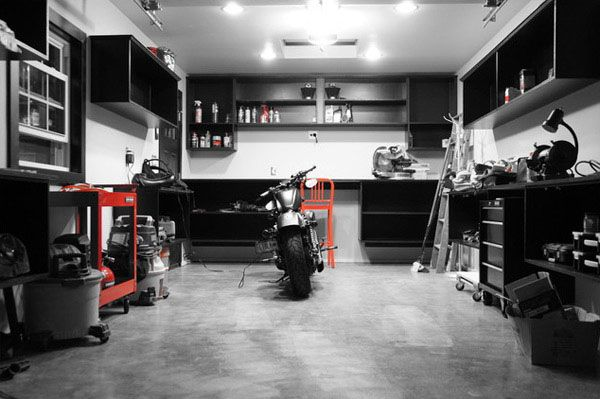 efficacious cool motorcycle garage ideas for enthusiast. Black Bedroom Furniture Sets. Home Design Ideas