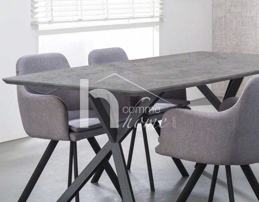 Table à manger design effet béton et acier noir CRUZAR 2 Maison