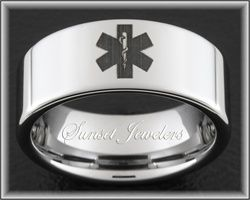 Tungsten Carbide Ring With EMT Star of Life Tungsten Rings