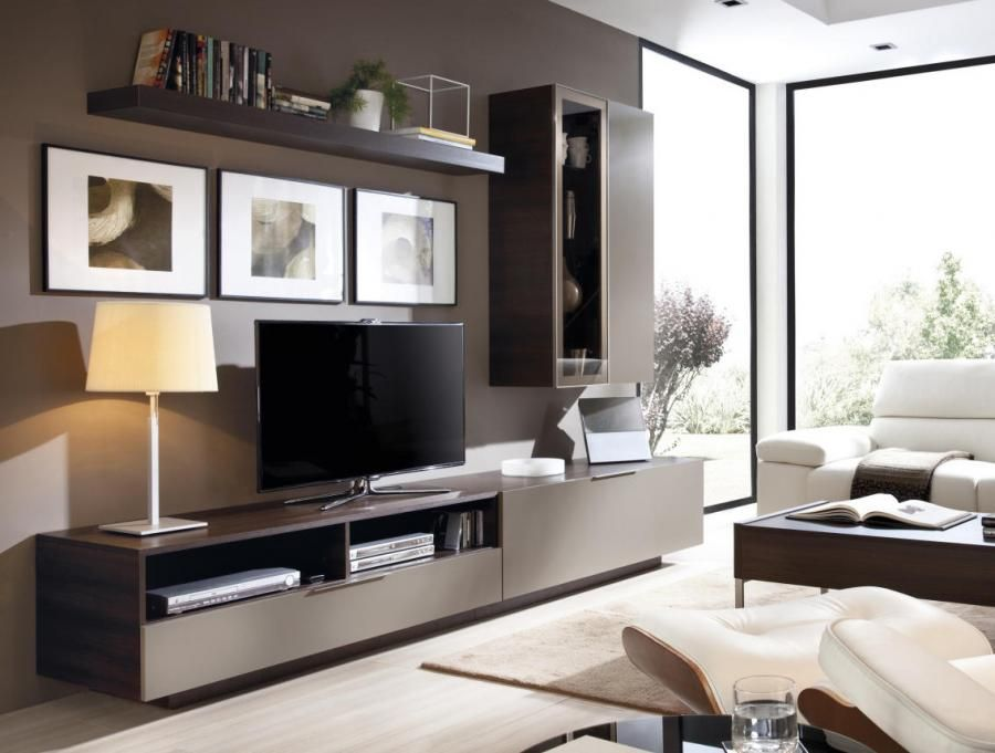 Modern Wall Storage System with Sideboard, Glass Display ...