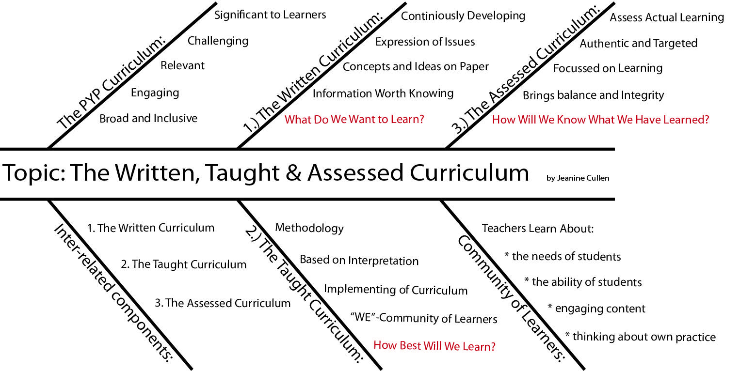 Fishbone Graphic Organiser about the Written, Taught and Assessed ...